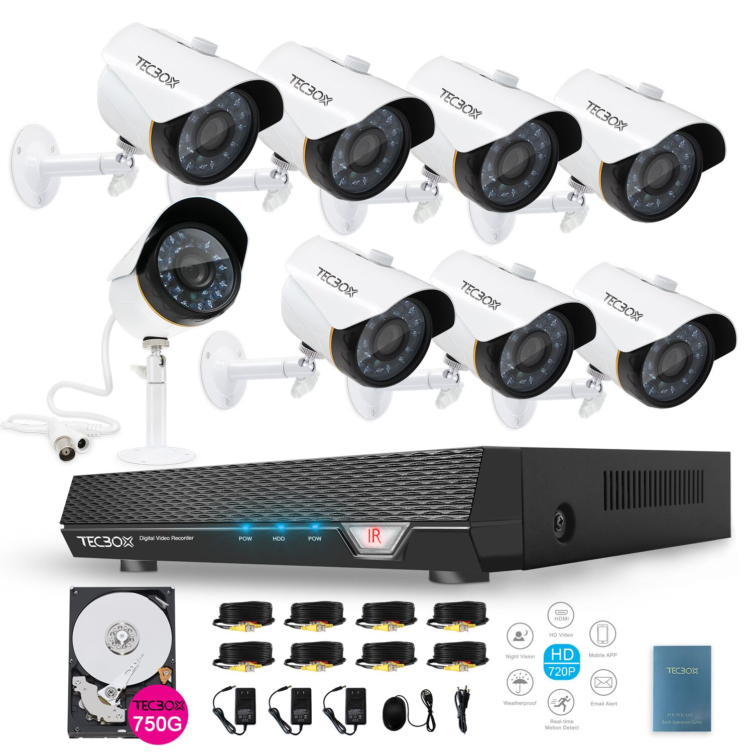 Tecbox 8 Channel Home Security Camera System CCTV Surveillance HDMI AHD DVR 8 HD 1.3MP 720P Indoor/Outdoor Cameras Remote View Motion Detection 750GB HDD Pre-installed