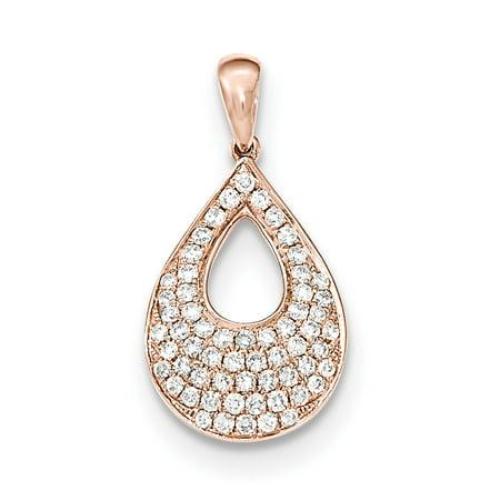 14k Rose Gold Diamond Teardrop Pendant Charm Necklace Cluster
