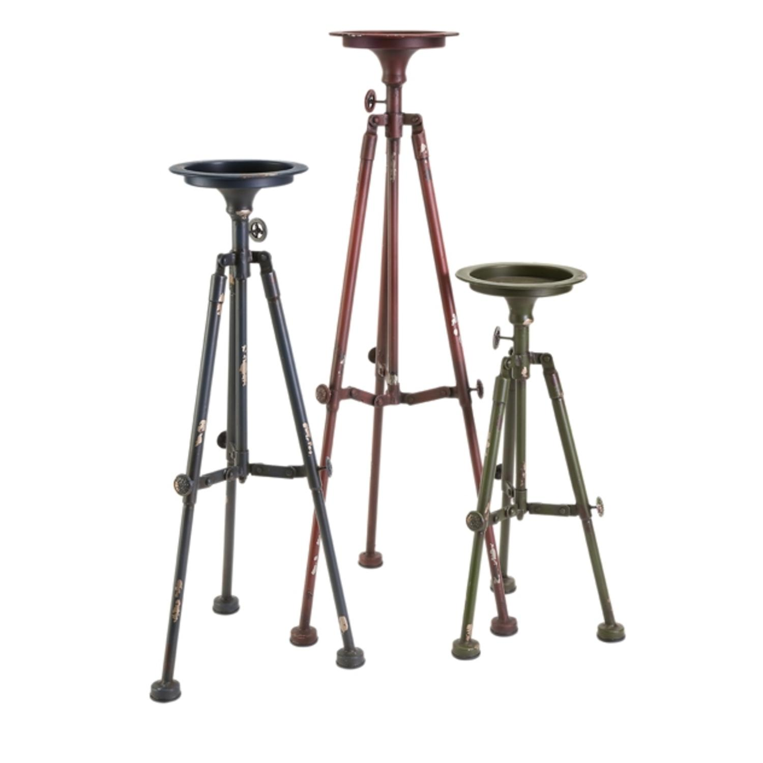 Set of 3 Red, Green and Blue Telescope Inspired Tripod Pillar Candle Holders