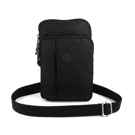 Unique Bargains Portable Checked Vertical Holder Shoulder Bag Pouch Black For Smartphone Mp4