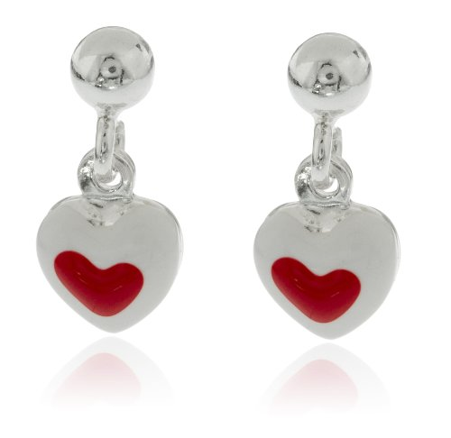 Real 925 Sterling Silver White with Red Heart Stud Earrings