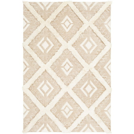 2' x 3' Diamond Patterned Tan Brown and Cream White Area Throw Rug ()