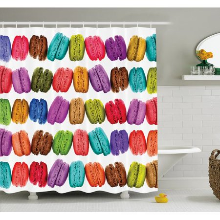 (Ambesonne French Macarons in a Row Coffee Shop Cookies Flavors Pastry Bakery Design Shower Curtain Set)