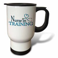 3dRose Nurse in Training Blue Heart Stethoscope - Travel Mug, 14-ounce, Stainless Steel