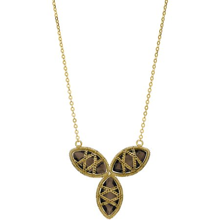 - 5th & Main 18kt Gold over Sterling Silver Hand-Wrapped Triple Floral Smokey Quartz Stone Necklace