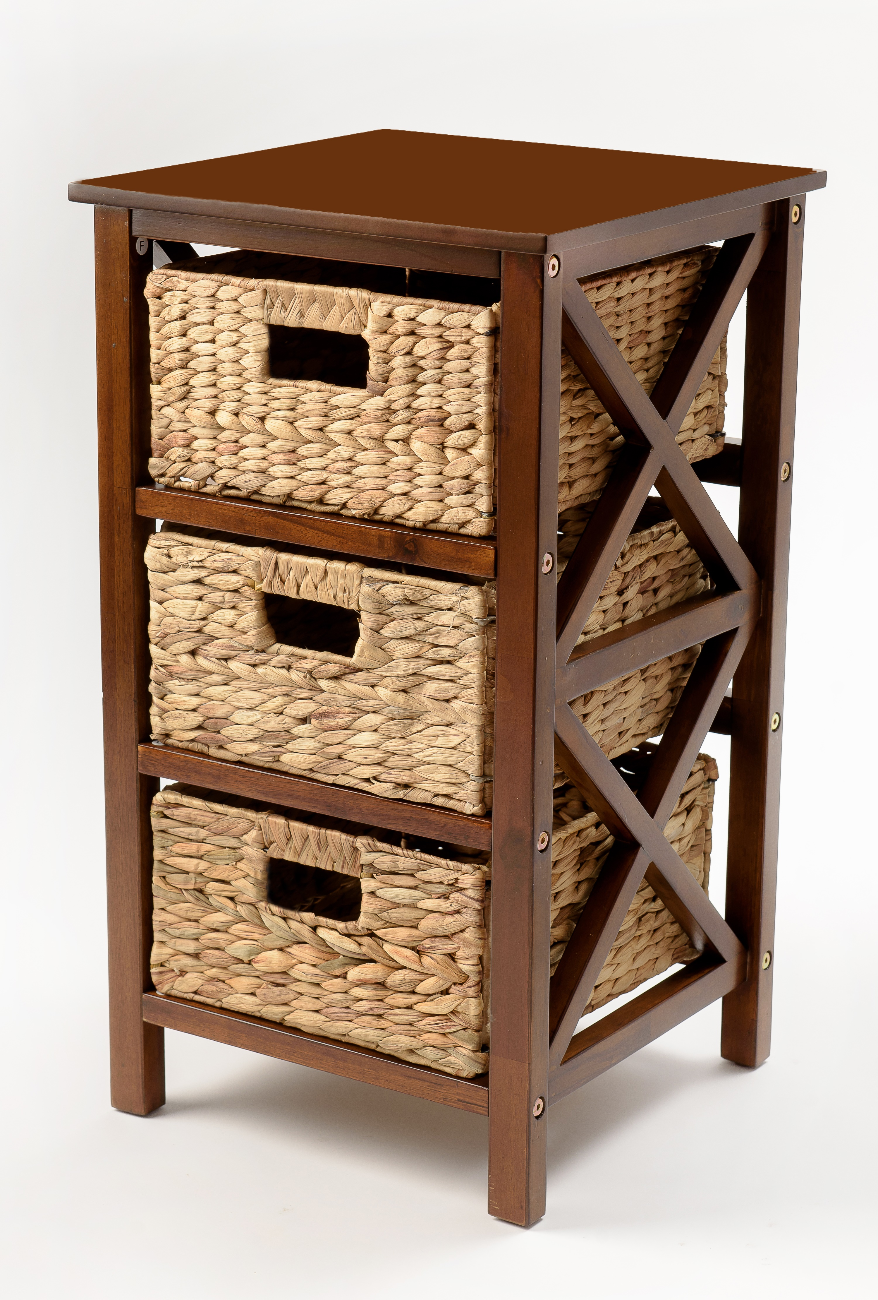 3 Tier X Side End Table Storage Cabinet With 3 Baskets In Walnut Walmart Com Walmart Com