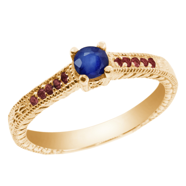 0.32 Ct Blue Sapphire Red Rhodolite Garnet 925 Yellow Gold Plated Silver Ring