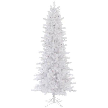Vickerman Pre-Lit 7.5' Crystal White Pine Artificial Christmas Tree, Slim Artificial Christmas Tree