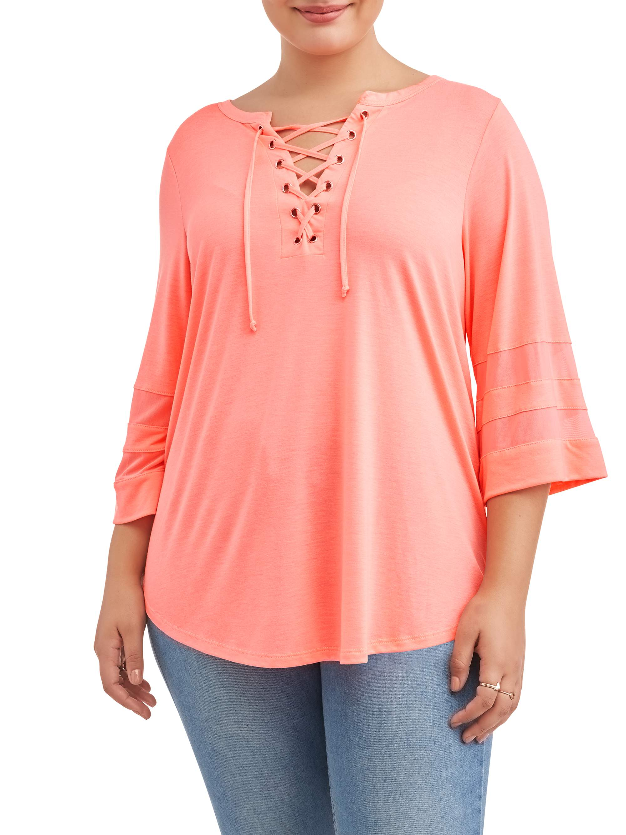 Women's Plus Size Lace Up Shirt Tail Top with Mesh Sleeve Inserts