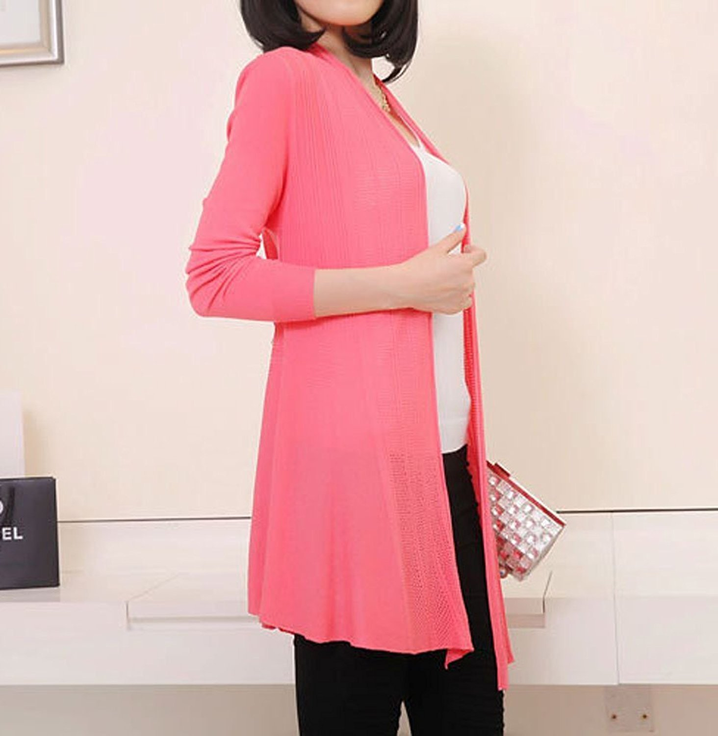 Long Sleeve Knitted Slim Fit Open Front Cardigan Sweater Shawl for Women (Watermelon Red) by