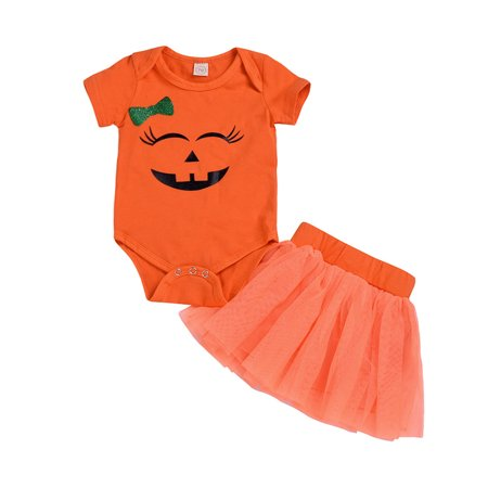 Toddler Newborn Baby Girls Cartoon Romper Skirt Halloween hotsales Costume Outfits Set - Nueva Orleans Halloween