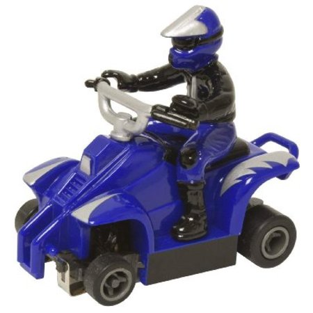 Life Like ATV With rider Fast Tracker Slot Car - Blue With Silver Lightning