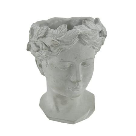 Classic Greek Grey Lady Indoor/Outdoor Cement Head Planter