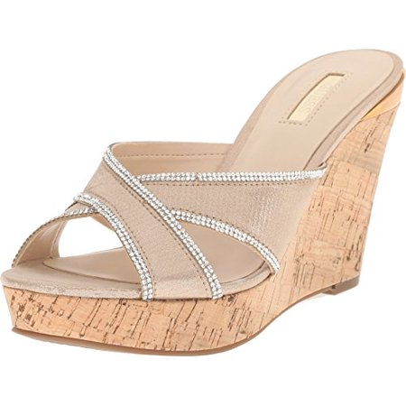 50a71fb5958 GUESS - GUESS Eleonora Gold Fabric Women s Wedge Shoes - Walmart.com