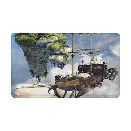 MKHERT Funny Fantasy Flying Ship and Floating Island Above The Clouds Doormat Rug Home Decor Floor Mat Bath Mat 30x18 inch - Above Door Decor