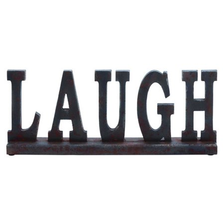 Wood Table Top Sign Placard That Says Laugh Chocolate Brown D Cor 93809