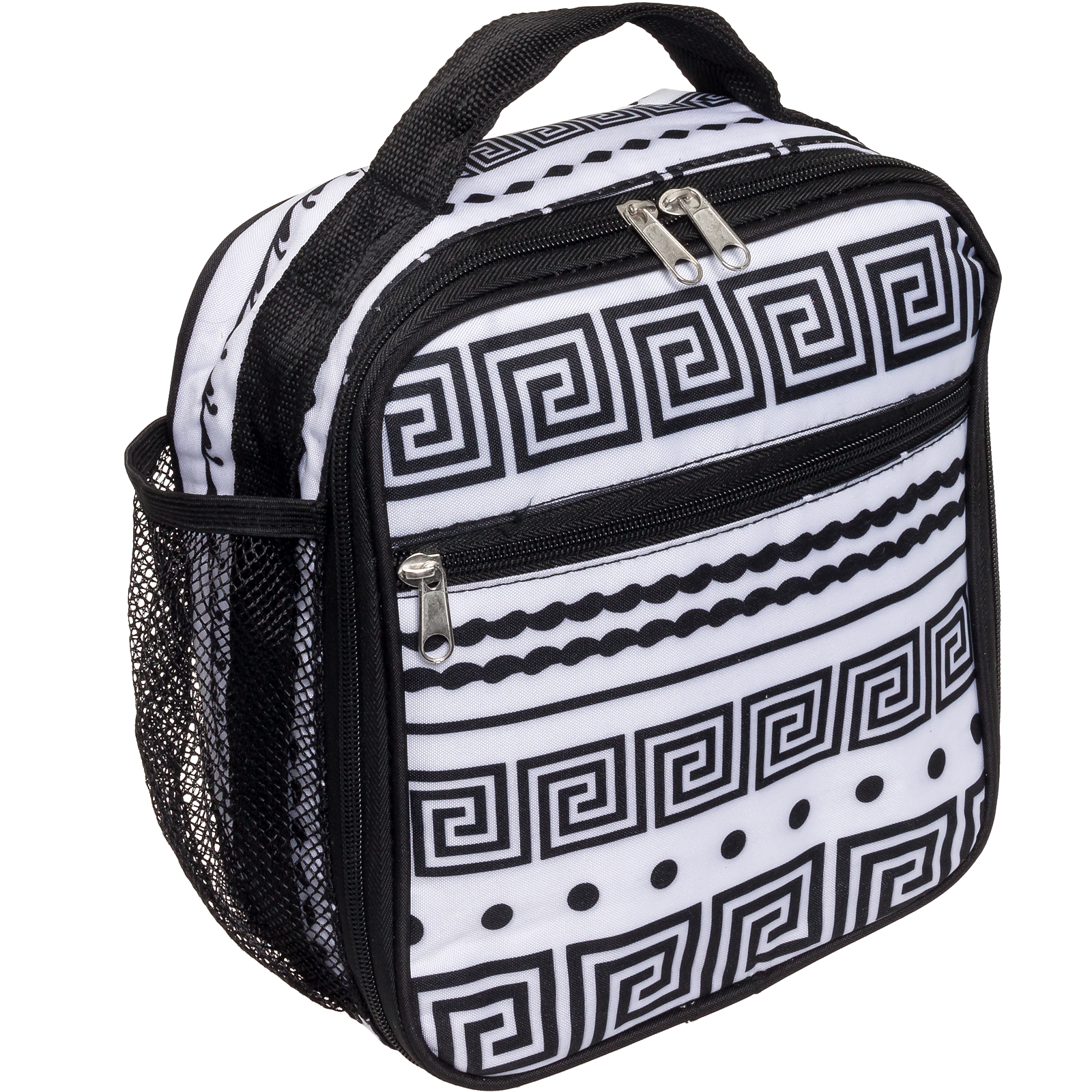Silver Lilly NEW Women's Insulated Cooler Lunch Box Tote Bag (Black/White Aztec)