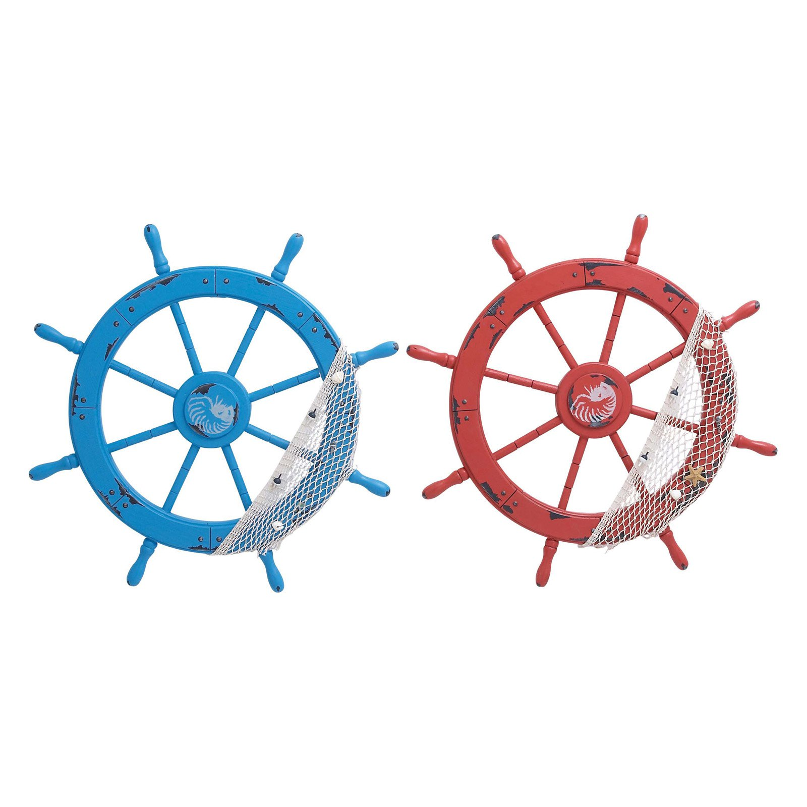 Woodland Imports Red and Blue Wooden Ship Wheels