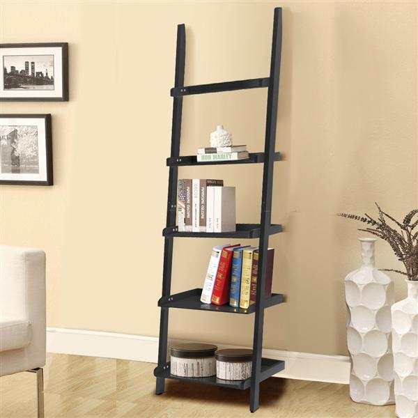 Topeakmart 5-Tier Leaning Ladder Shelf Bookcase for Living Room Garden Bathroom Storage Balck