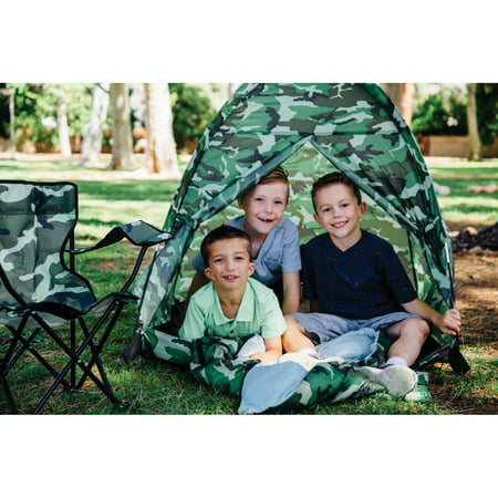 Pacific Play Tents Green Camo Set, Tent, Chair and Sleeping Bag