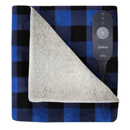 Sunbeam Heated Electric Microplush Sherpa Throw Blanket, 60u0022 x 50u0022, Navy Buffalo Plaid
