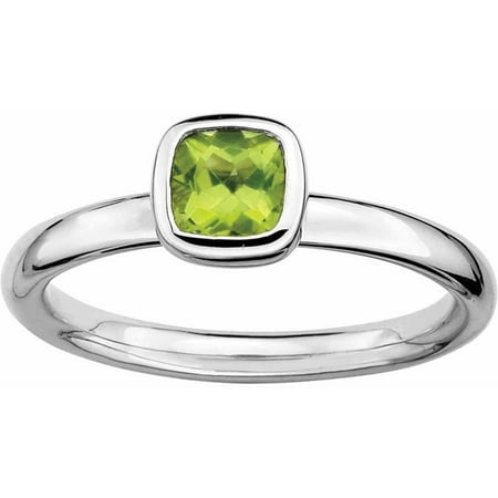 Sterling Silver Cushion Cut Peridot Ring