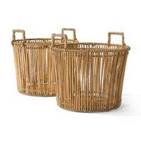 MoDRN Naturals Round Rattan Basket with Handles, 2 Pack