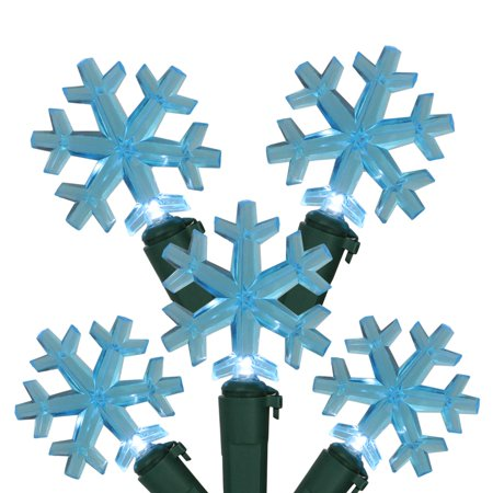 Set of 20 Blue LED Snowflake Christmas Lights 4 Spacing - Green Wire