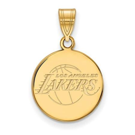 Los Angeles Lakers Medium (5/8 Inch) Disc Pendant (14k Yellow Gold) ()