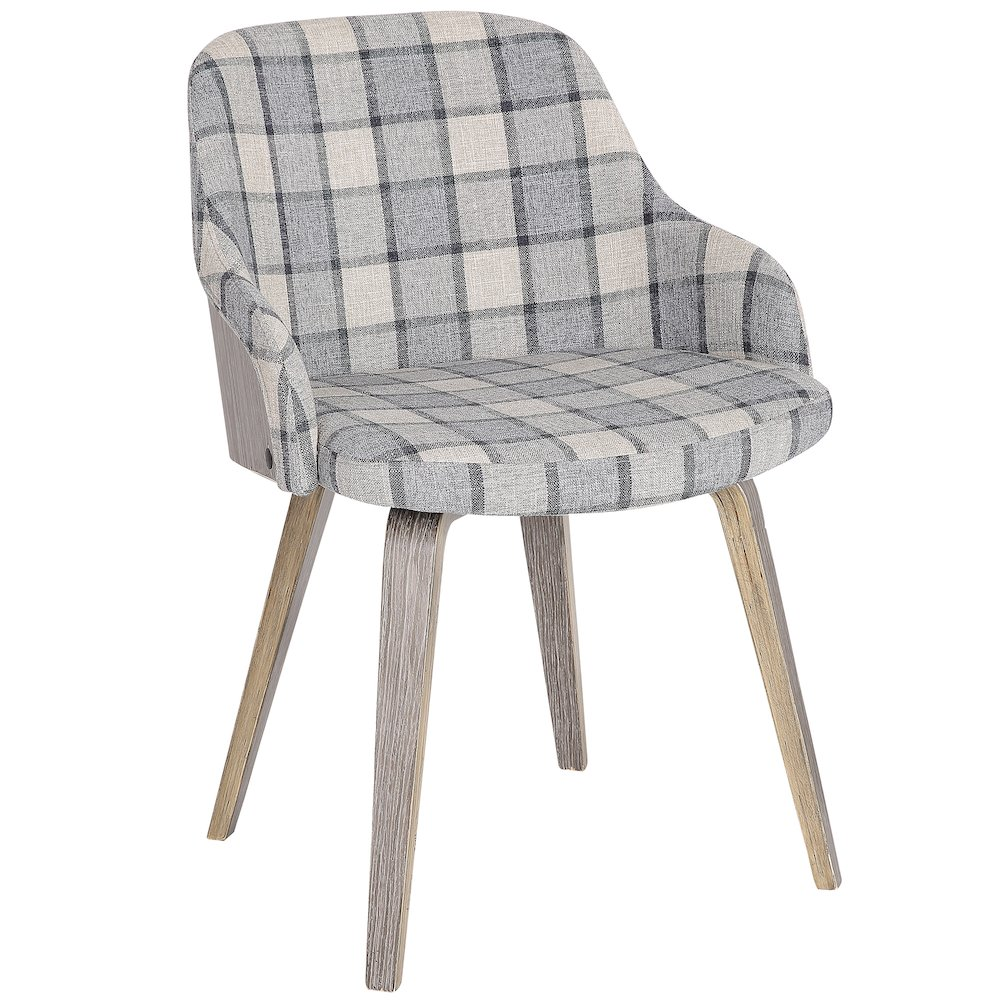 Bacci Mid-Century Modern Dining  Accent Chair in Light Grey Wood and Grey Plaid by Lumisource by