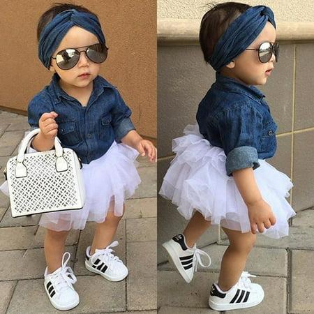 Toddler Kids Baby Girls Denim Tops T shirt+Tutu Skirts Dress 3pcs Outfits Set