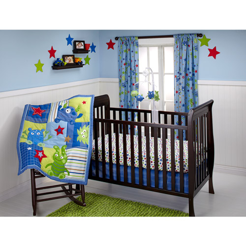 Little Bedding by NoJo - Monster Babies 3pc Crib Bedding Set - Collection Value Bundle