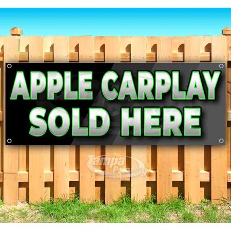 Image of Apple Carplay Sold Here 13 oz heavy duty vinyl banner sign with metal grommets, new, store, advertising, flag, (many sizes available)