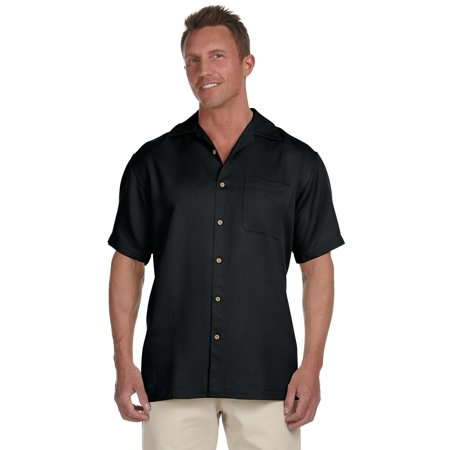 Mens Bahama Cord Camp Shirt - BLACK - S - (Style # M570 - Original Label) - (Discount on Bulk Qty) Mens Cord Camp Shirt
