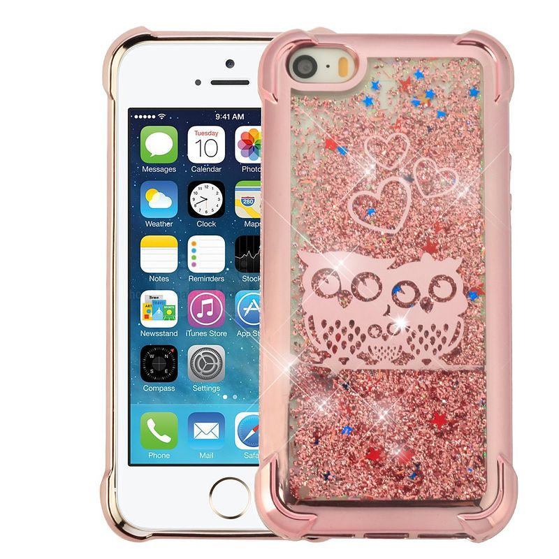 Apple iPhone 5/5S/SE Case, by Insten Confetti Quicksand Glitter Owl Hard Plastic/Soft TPU Rubber Case Cover For Apple iPhone 5/5S/SE, Rose Gold+ BasAcc_APP MFi Lightning Cable, 3.3FT White - image 2 of 3