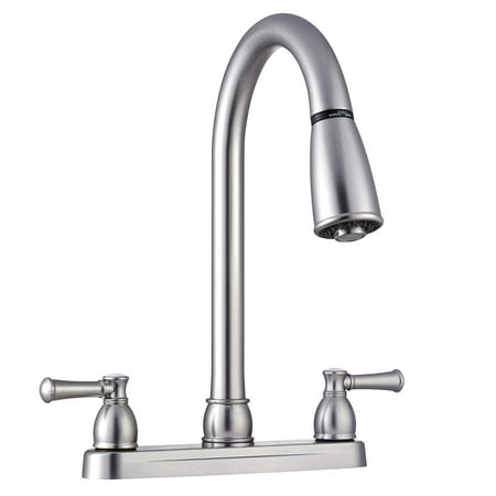 Dura Faucet Non-Metallic Dual Lever Pull-Down RV Kitchen Faucet - Brushed Satin (Best Bumper Pull Rv)