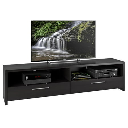 Fernbrook TV Stand in Black Faux Wood Grain Finish for TVs up to (Elegant Black Full Grain)
