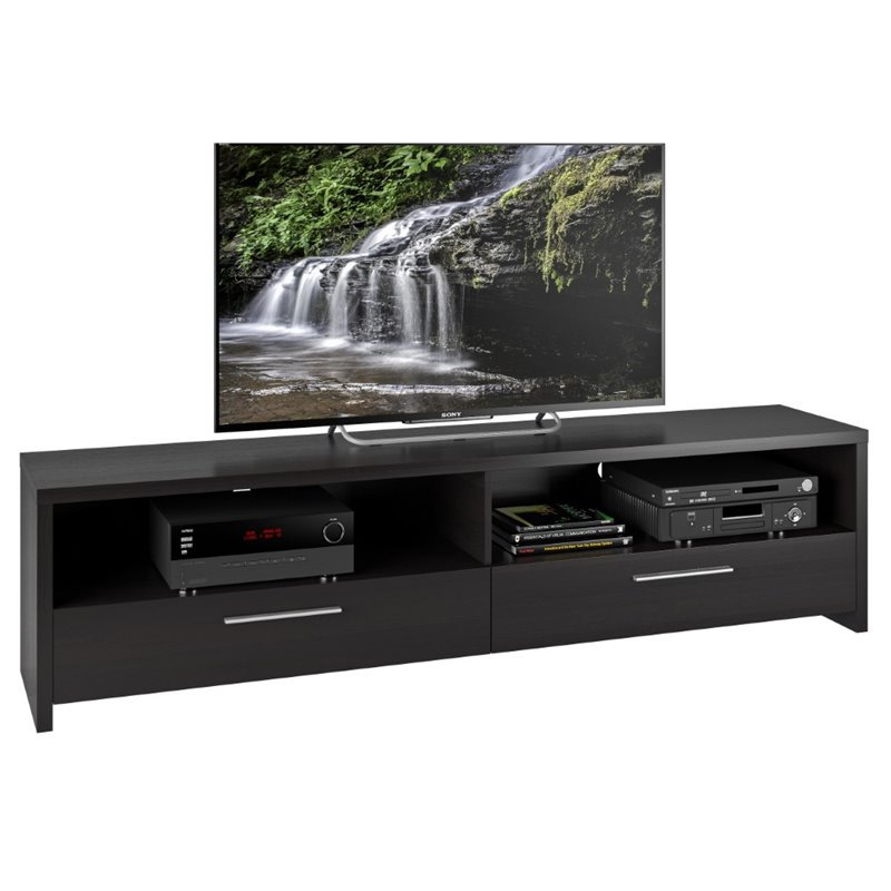 Fernbrook TV Stand in Black Faux Wood Grain Finish for TVs up to 85""