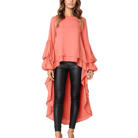 JustVH Women's Long Puff Sleeve High Low Asymmetrical Irregular Hem Casual Tops Blouse Shirt - Silk Georgette Long Sleeve Blouse