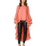 JustVH Women's Long Puff Sleeve High Low Asymmetrical Irregular Hem Casual Tops Blouse Shirt Dress