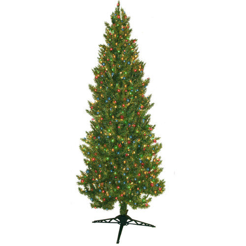 General Foam Plastics 7' Green Slim Spruce Artificial Christmas Tree with 450 Multicolored Lights