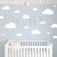 Clouds set of 21 Wall Pattern Self Adhesive Decal Stickers (Vinyl, White)