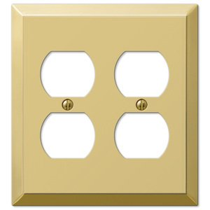 Amerelle 163DDBR Traditional Steel Wallplate with 2 Duplex Outlet, Polished Brass 2 Duplex Wall Plate