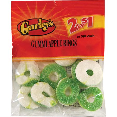Gurley 2/$1 Peg Pack, Gummy Apple Rings 12/1.75 Oz - Pack Of 12