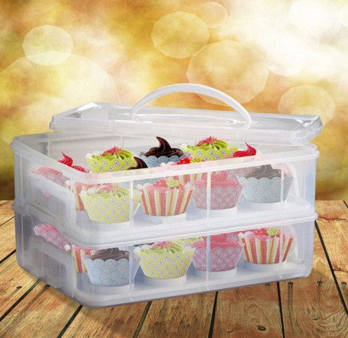 2 Tier Cupcake Holder Cake/ Cookie/ Dessert Carrier Container Case - Store up to 24 Cupcakes or 2 Large Cakes - BPA Free