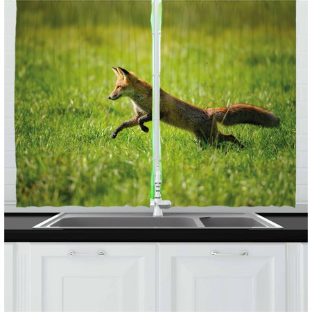 Fox Curtains 2 Panels Set, Red Fox Jumping Running in Fresh Green Grass Daytime Nimble Clever Ferocious Canine, Window Drapes for Living Room Bedroom, 55W X 39L Inches, Green Brown, by