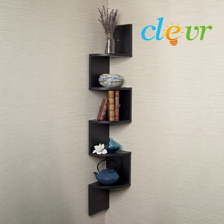 5 Tier 4ft Corner Wall Mount Shelf Zig Zag Decor Home Laminate Black Shelves