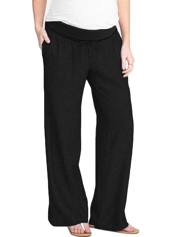 Maternity Pants Solid Color Elastic Drawstring Long Trousers