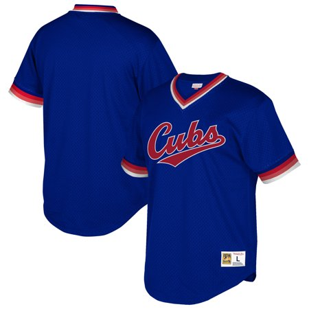 huge discount c3d72 b7dc3 Chicago Cubs Mitchell & Ness Cooperstown Collection Mesh Wordmark V-Neck  Jersey - Royal