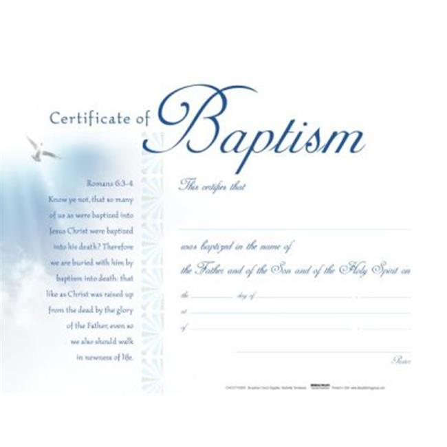 B & H Publishing 152708 5.5 x 3.5 in. Baptism White Clouds Certificate - Pack of 6